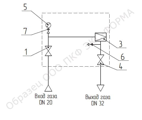 схема газовая ГРПШ-10