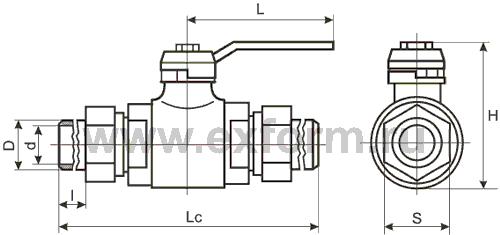 Шаровые краны ГШК-20Ш штуцерные Ду-20 Ру-16(25)