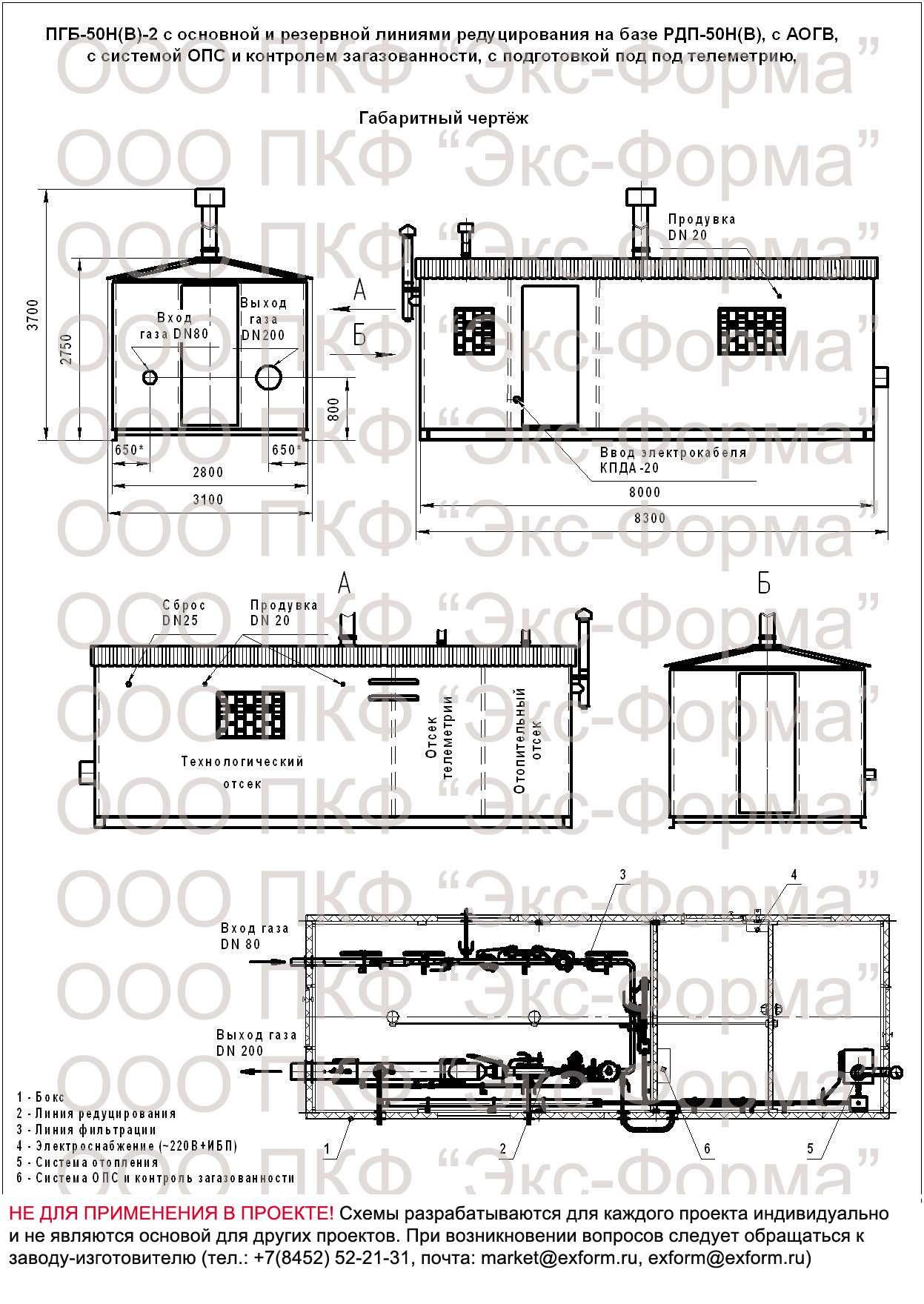 габаритная схема ПГБ-50Н-2, ПГБ-50В-2 с АОГВ