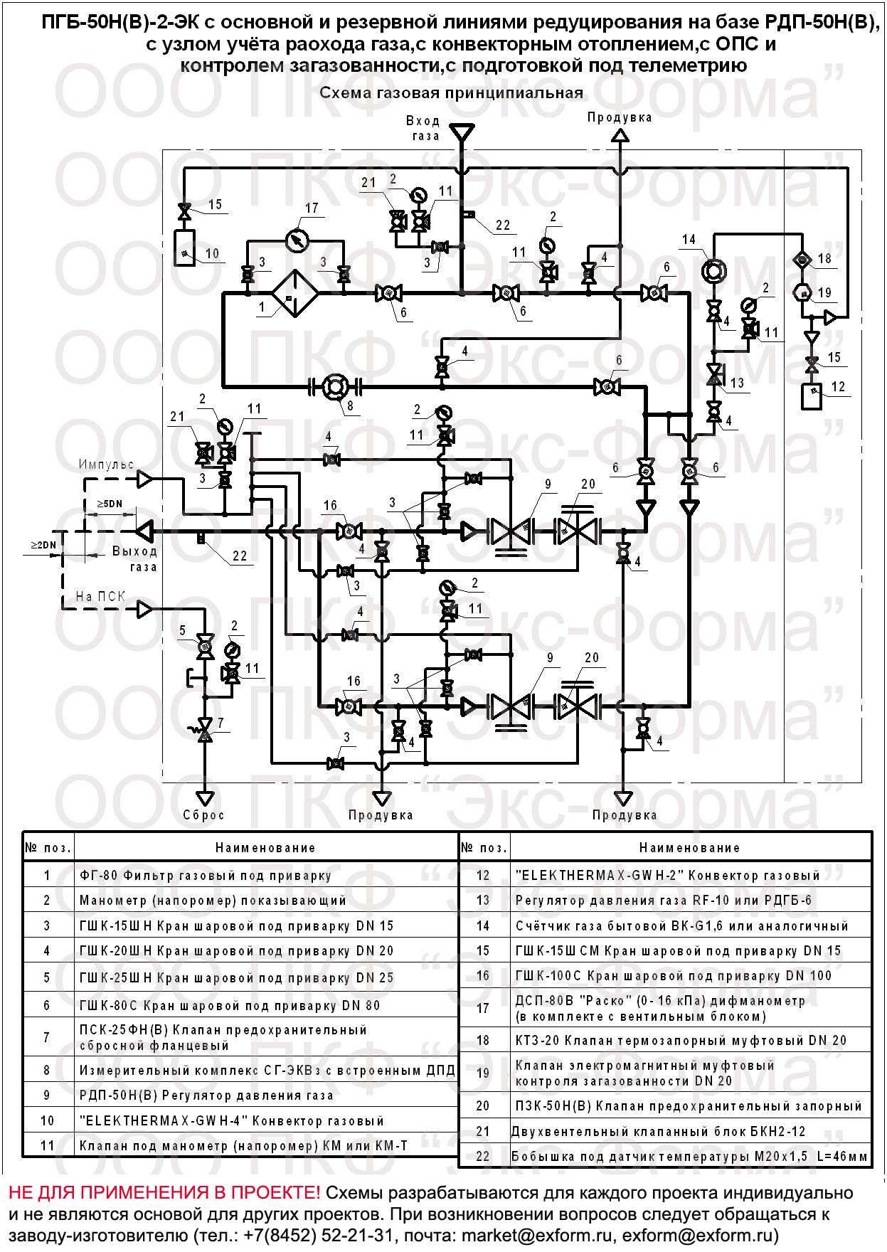 схема газовая ПГБ-50Н-2-ЭК, ПГБ-50В-2-ЭК